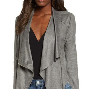 BLACNK NYC FAUX SUEDE DRAPE JACKET GREY